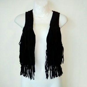 H&M Black Fringe Vest